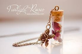 rose buds bottle necklace flower