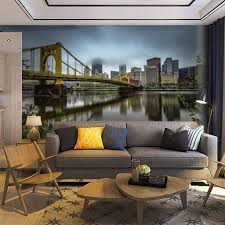 Wallpaper Wall Mural Reflections Of The Pittsburgh Skyline And The Andy Warhol Bridge In Self Adhesive Removable Peel Stick Wall Decor Home Craft Wall Decal Wall Poster Sticker For Living Room