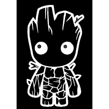 Baby Groot Guardians Of The Galaxy Inspired Decal Sticker 6 Inches By 3 3 Inches White Vinyl Walmart Com Walmart Com