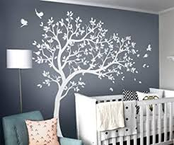 Amazon Com Large Tree Wall Decals Wall Tattoo Large Nursery Tree Decals Wall Mural Removable Vinyl Wall Sticker Kw032r White Kitchen Dining