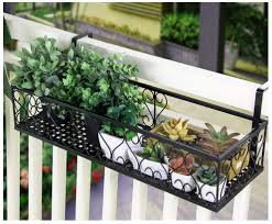 Window Flower Pot Stand Flower Pot Railing Shelf Balcony Rail Planter Shelf Hanging Wrought Iron Fence Railing Outdoor Rust Flower Pots Holder Black Amazon Co Uk Kitchen Home