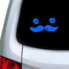 Amazon Com Stickany Car And Auto Decal Series Cute Mustache Face Sticker For Windows Doors Hoods Blue Automotive
