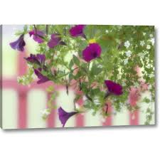 Winston Porter Wa Flowers Hang From Basket By A Picket Fence Photographic Print On Wrapped Canvas Wayfair