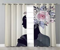stylish window curtains watercolor lady
