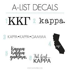 Kappa Kappa Gamma Sticker Set A List Greek Designs