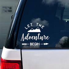 Let The Adventure Begin Car Decal Vinyl Decal Car Etsy