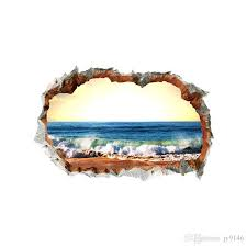 3d Living Room Beach Wall Sticker Vinyl Self Adhesive Wall Broken Sea Landscape Wall Art Decal For Home Decoration Cheap Tree Wall Decals Cheap Vinyl Wall Decals From Qiansuning88 16 09 Dhgate Com