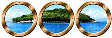 Amazon Com Vwaq Wall Art Portholes Nature Window Clings Cruise Ship Decals Spw8 14 Diameter Bronze Home Kitchen