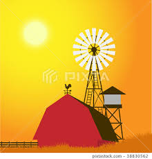 Farm Windmill Barn Fence House Field Stock Illustration 38830562 Pixta