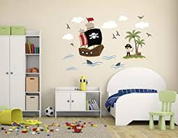 Amazon Com Pirate Theme Wall Decal Pirate Wall Decals Nursery Wall Decals Ship Wall Decor Vinyl Sticker For Boys Baby