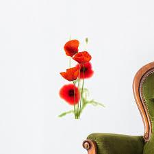 Poppies White Red Poppy Wall Decal Wallmonkeys Com