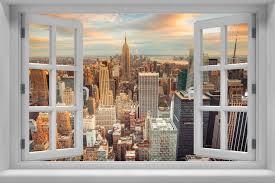Cloudy Sky New York City Center Wall Murals Wall Stickers Window Sticker Wallpaper Decals Home Decoration 2018109001 Wall Stickers Aliexpress
