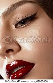 makeup in hollywood image with red lips