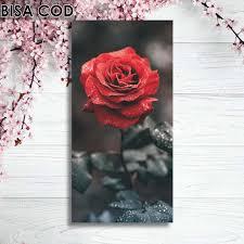 dekorasi rumah hiasan kamar hiasan dinding bunga mawar merah