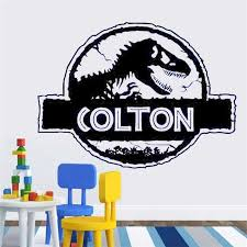 Personalized Wall Sticker Custom Boy Room Door Sign Dinosaur Nursery Decor Vinyl Decal Kids Name Print Boys Wall Sticker Hy227 Wall Stickers Aliexpress