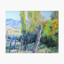 Barbed Wire Fence In The Desert Colored Pencil Drawing Art Board Print By Happylandscapes Redbubble
