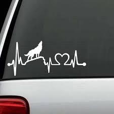 Howling Wolf Heartbeat Love Window Decal Sticker Custom Sticker Shop
