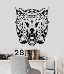 Vinyl Wall Decal Animal Zoo Tribal Wolf Head Headphones Stickers Mural Wallstickers4you