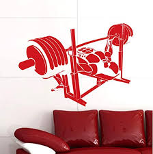 Amazon Com Car Barbell Gym Sticker Fitness Decal Body Building Posters Vinyl Wall Decals Decor Mural Gym Sticker 42x58cm Kitchen Dining
