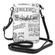 women small cell phone purse crossbody various quotes on happiness