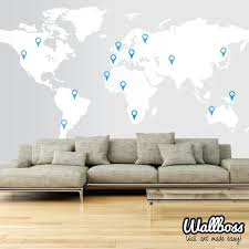 Extra Large World Map Decal 11ft X 5 7ft 3 5m X 1 73m Wall Etsy