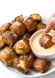homemade pretzel bites with cheese