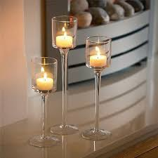 elegant long stem glass candle holders