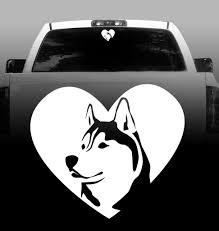 Husky Heart Vinyl Decal Siberian Husky Car Vehicle Sticker Rockin Da Dogs