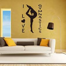 I Love Gymnastics Girl Fashion Pattern Vinyl Waterproof Wall Stickers For Gym Sport Room Decals Background Murals Quotes K813 Wall Stickers Aliexpress