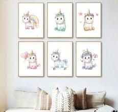 Unicorn Print Nursery Baby Kids Room Cartoon Canvas Painting Animal Poster Decor Ebay