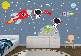 Amazon Com Rocket And Moon Wall Decal With Astronauts For Baby Nursery Or Boy S Room Baby