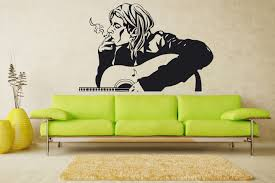 Amazon Com Hannah Larsen Kurt Cobain Smoke And Playing Guitar Wall Decal Music Vinyl Sticker Wall Decor 101s Kitchen Dining