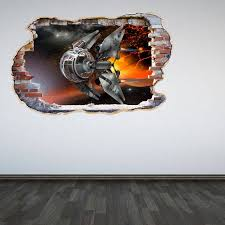 Space Drone Wall Decal Galaxy Smashed Wall 3d Effect Sticker Etsy