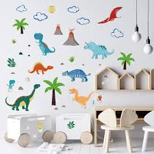 Amazon Com Decalmile Colorful Dinosaur Wall Decals Kids Wall Stickers Baby Nursery Children Bedroom Wall Decor Arts Crafts Sewing