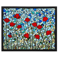 poppies stained glass panel stained