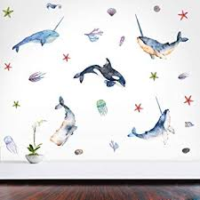 Amazon Com Narwhal Wall Decal Dolphin Wall Sticker Starfish And Seaweed Decor Ocean Sea Stickers For Nursery Room Bathroom Decor Home Decoration Baby