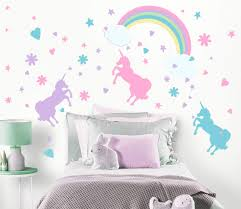 Create A Mural Unicorn Wall Decal Girls Room Wall Decor Art N Rainbow Clouds 102 Piece Set Decoration For Kids Room Walls Toddlers Unicorn Gifts For Girls Nursery Vinyl Wall Clings