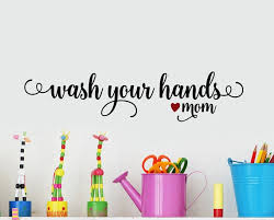 Kids Bathroom Sign Wash Your Hands Vinyl Decal Wash Your Etsy