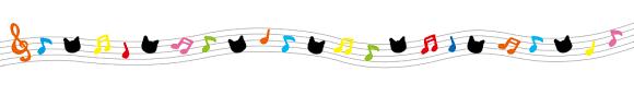 音符と猫の顔のライン素材カラフル | 猫画工房