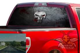 Punisher Rear Window Decals Perforated Vinyl Ford F150