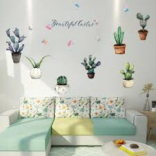 Creative Pot Plant Cactus Wall Stickers Vinyl Diy Art Mural For Living Room Bedroom Kitchen Glass Window Decoration Sticker Large Wall Decal Large Wall Decals From Chairdesk 5 35 Dhgate Com