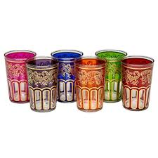 multicoloured moroccan tea glasses