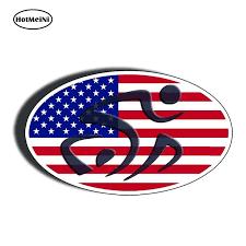 Hotmeini 13cm X 7 8cm Oval Tri Triathlon Sticker Usa Flag 70 3 Run Bike Swim Car Truck Window Decal Waterproof Car Sticker In 2020 Waterproof Car Car Stickers Bike Run