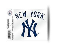 New York Yankees Ny Logo Wordscript Navy Static Cling Sticker New Win Hub City Sports