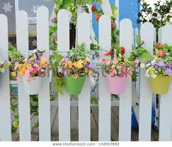 Hanging Flower Pots Fence Nature Stock Image 134507693