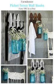 How To Make Farmhouse Picket Fence Wall Hooks Knick Of Time Picket Fence Crafts Fence Decor Picket Fence