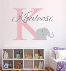Personalized Name Wall Decal Elephant Initial Wall Sticker For Girls Room Nursery Bedroom Wall Decor Art Vinyl Murals A568 Name Wall Stickers Wall Stickerwall Sticker Name Aliexpress