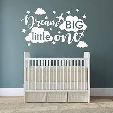 Amazon Com Quote Wall Decal Dream Big Little One Decal Baby Room Decor Quote For Kids Baby Boy Room Decorplane Decal Cloud And Star Decal Wall Decals Nursery Y40 Large White Home Kitchen