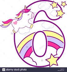 Numero 6 Con Lindo Unicornio Y Rainbow Puede Ser Utilizado Para
