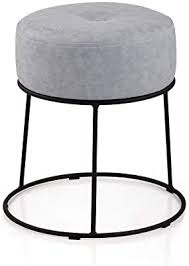 Amazon Com Zhou Yang Grey Linen Foot Stool Ottoman Soft Compact Round Padded Seat Living Room Bedroom And Kids Room Chair Black Metal Legs Upholstered Decorative Furniture Rest Vanity